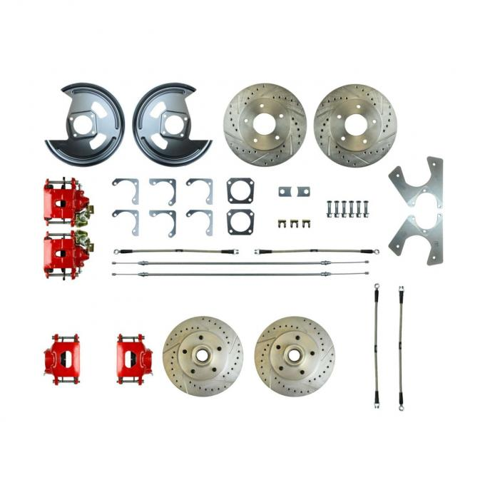 Right Stuff Rear +2 Disc Brake Conversion Kit with 4 Drilled & Slotted Rotors, 4 Red Powder Coated Calipers, Braided Hoses & with Parking Brake Cable for 78 Camaro. F78RD07Z