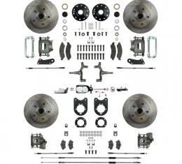 """Right Stuff 4 Wheel 2"""" Drop Manual Disc Brake Conversion with a Chrome Master Cylinder & Valve, Spindles, Standard Rotors, Natural Finish Calipers, Hoses, Backing Plates, Caliper Brackets for 68-69 GM F-Body and 68-74 Nova with Staggered Rear Shocks. AFXSD45DX"""