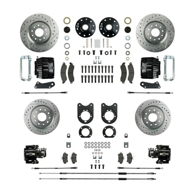 Right Stuff Stock Height Big Brake 4 Wheel Kit with Spindles, Drilled & Slotted Rotors, Black Twin Piston Calipers, Stainless Hoses, Caliper Brackets and more for 62-67 Chevy II with Staggered Rear Shocks. AFXWK55CS
