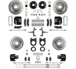 "Right Stuff 2"" Drop 4 Wheel Kit with Spindles, Drilled & Slotted Rotors, Black Twin Piston Calipers and Stainless Hoses for 64-72 GM A-Body, 67-69 F-Body and 68-74 Nova with Non-Staggered Shocks. AFXWK51DS"