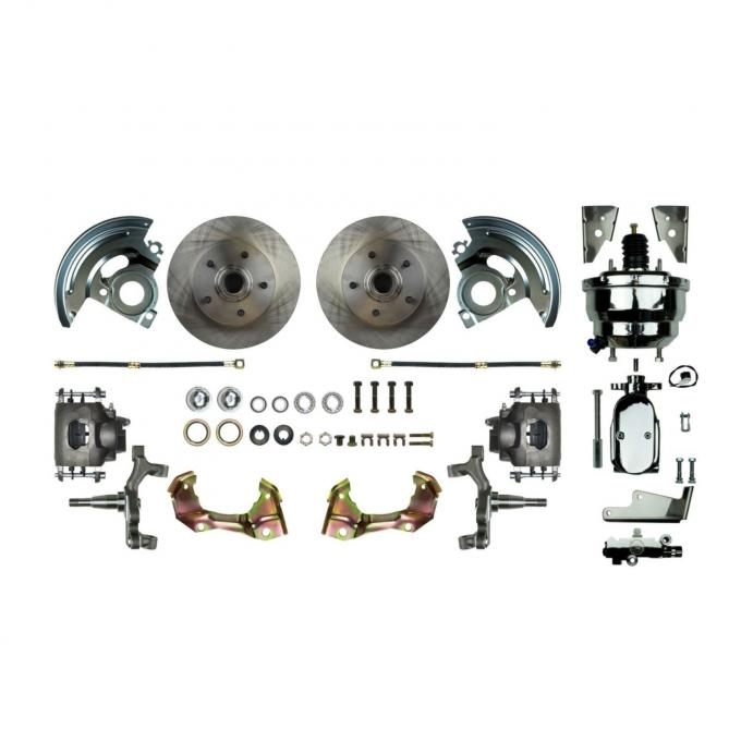 """Right Stuff Power Front 2"""" Drop Disc Brake Conversion Kit with a Chrome 8"""" Dual Brake Booster and Master Cylinder & Valve, Standard Rotors and Natural Finish Calipers for 67-69 F-body and 68-74 Nova. AFXDC02DX"""