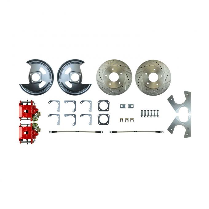 Right Stuff Rear Disc Brake Conversion Kit with Drilled & Slotted Rotors, Red Powder Coated Calipers, Stainless Hoses & more for 78-81 GM A-body, 82-92 F-Body and 78-88 G-body with Staggered Shocks. No E-Brake Cable Included. AFXRDM78Z