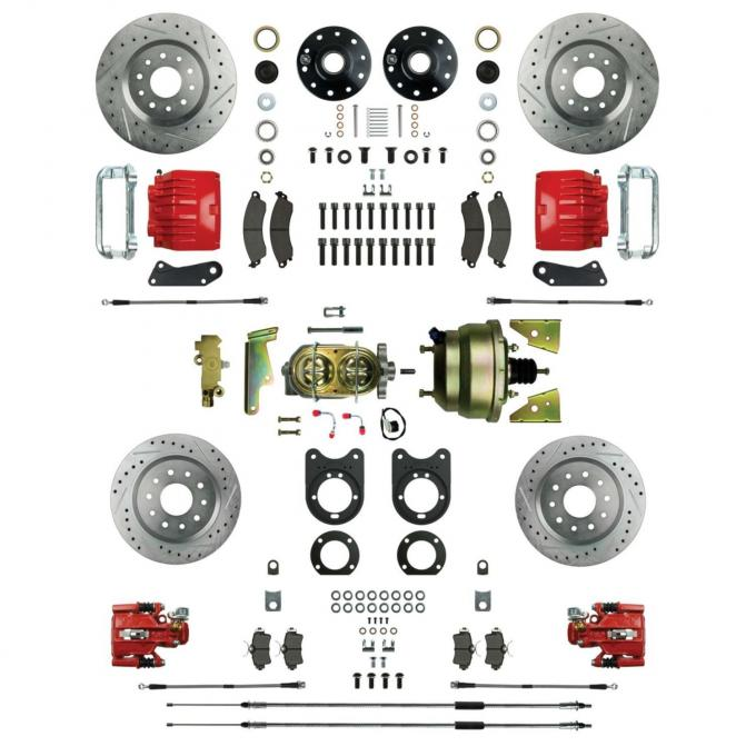 """Right Stuff 4 Wheel Stock Height Big Brake Power Disc Conversion Kit with an 8"""" Dual Brake Booster & Master Cylinder, Spindles, Drilled & Slotted Rotors, Red Twin Piston Calipers and Stainless Hoses for 68-69 F-Body and 68-74 Nova with Staggered Rear Shocks. AFXDC55CZ"""