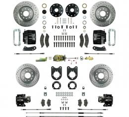 Right Stuff 4 Wheel Stock Height Big Brake Manual Disc Conversion Kit with a Master Cylinder & Valve, Spindles, Drilled & Slotted Rotors, Black Twin Piston Calipers and Stainless Hoses for 68-69 F-Body and 68-74 Nova with Staggered Rear Shocks. AFXSD55CS