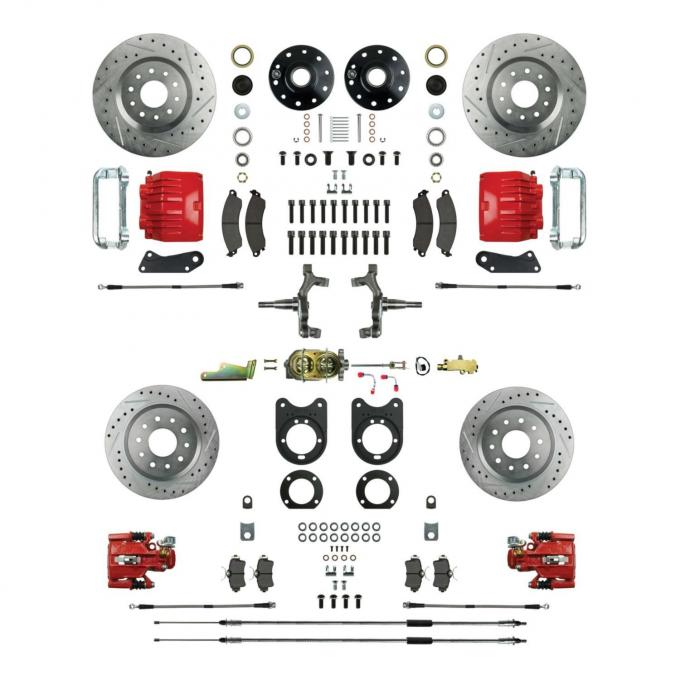 """Right Stuff 4 Wheel 2"""" Drop Manual Disc Brake Conversion with a Master Cylinder & Valve, Spindles, Drilled & Slotted Rotors, Red Powder Coated Calipers, Hoses, Backing Plates & Caliper Brackets for 68-69 GM F-Body and 68-74 Nova with Staggered Rear Shocks. AFXSD45CZ"""