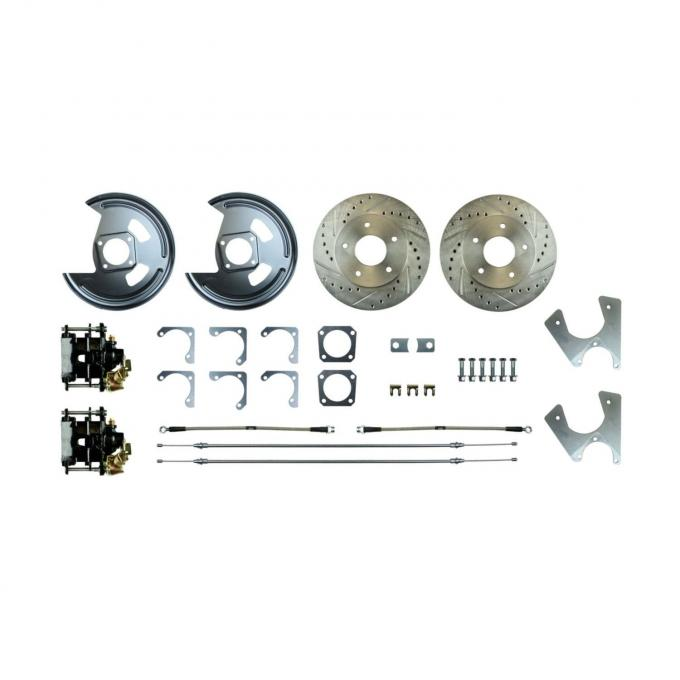 Right Stuff Rear Disc Brake Conversion Kit with Drilled & Slotted Rotors, Black Powder Coated Calipers, Stainless Hoses, E-Brake Cables & more for 70-74 F-Body with Staggered Shocks. AFXRD06S