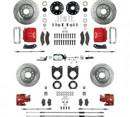 """Right Stuff 4 Wheel 2"""" Drop Big Brake Manual Disc Conversion Kit with a Chrome Master Cylinder & Valve, Spindles, Drilled & Slotted Rotors, Red Twin Piston Calipers and Stainless Hoses for 68-69 F-Body and 68-74 Nova with Staggered Rear Shocks. AFXSD55DZX"""