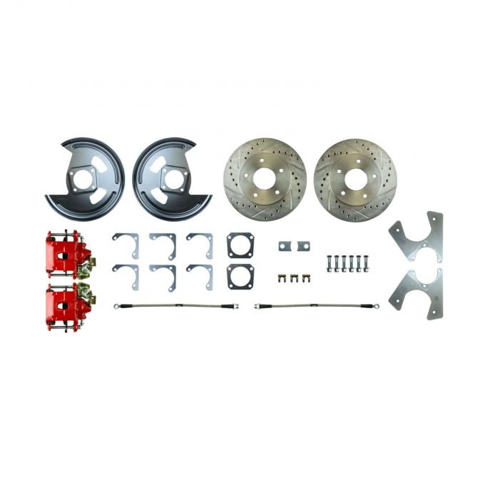 Right Stuff Rear Disc Brake Conversion Kit with Drilled & Slotted Rotors, Red Powder Coated Calipers, Stainless Hoses & more for 64-77 GM A-body, 67 F-Body and 68-79 Nova with Non-Staggered Shocks. No E-Brake Cable Included. AFXRDM1Z