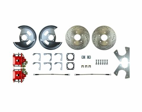 Right Stuff Rear Disc Brake Conversion Kit with Drilled & Slotted Rotors,Red Powder Coated Calipers, Stainless Hoses & more for 75-81 F-Body with Staggered Shocks. No E-Brake Cable Included. AFXRDM7Z