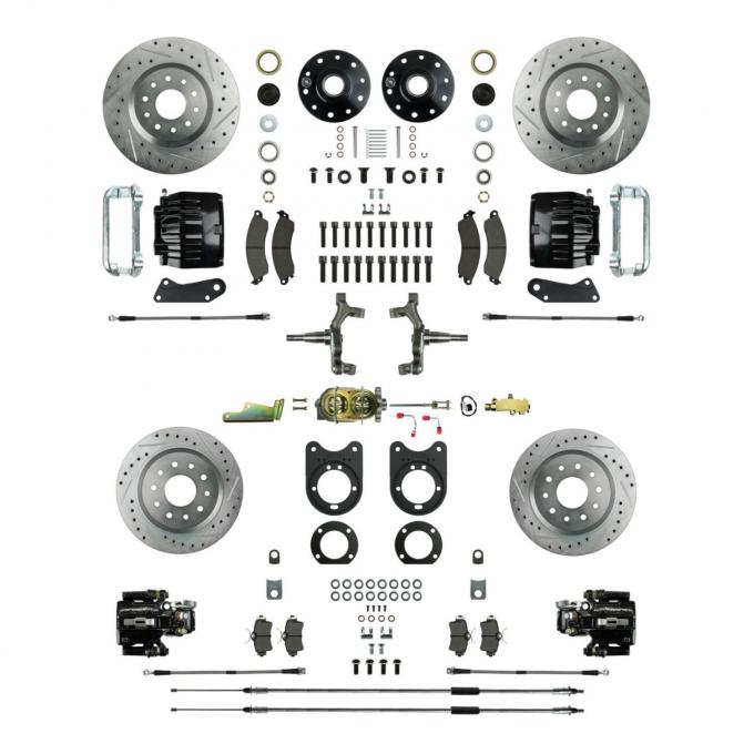 """Right Stuff 4 Wheel 2"""" Drop Big Brake Manual Disc Conversion Kit with a Master Cylinder & Valve, Spindles, Drilled & Slotted Rotors, Black Twin Piston Calipers and Stainless Hoses for 68-69 F-Body and 68-74 Nova with Staggered Rear Shocks. AFXSD55DS"""
