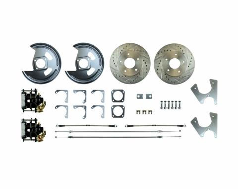 Right Stuff Rear Disc Brake Conversion Kit with Drilled & Slotted Rotors, Black Powder Coated Calipers, Stainless Hoses, E-Brake Cables & more for 75-81 F-Body with Staggered Shocks. AFXRD07S
