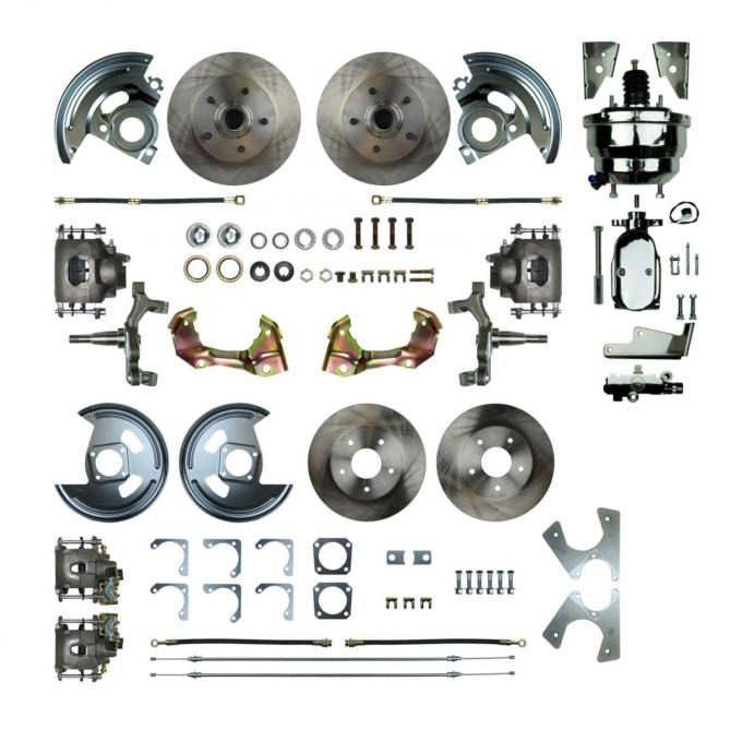 """Right Stuff 4 Wheel 2"""" Drop Power Disc Brake Conversion with a Chrome 8"""" Dual Booster, Master Cylinder & Valve, Spindles, Standard Rotors, Natural Finish Calipers, Hoses and more for 67 GM F-Body with Non-Staggered Rear Shocks. AFXDC42DX"""