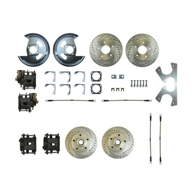 Right Stuff Rear +2 Disc Brake Conversion Kit with 4 Drilled & Slotted Rotors, 4 Black Powder Coated Calipers, Braided Hoses Without Parking Brake Cable for 82-87 Camaro. F82RDM78S