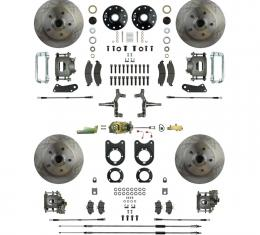 """Right Stuff 4 Wheel 2"""" Drop Manual Disc Brake Conversion with a Master Cylinder & Valve, Spindles, Standard Rotors, Natural Finish Calipers, Hoses, Backing Plates, Caliper Brackets for 68-69 GM F-Body and 68-74 Nova with Staggered Rear Shocks. AFXSD45C"""