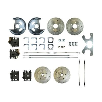 Right Stuff Rear +2 Disc Brake Conversion Kit with 4 Drilled & Slotted Rotors, 4 Black Powder Coated Calipers, Braided Hoses & with Parking Brake Cable for 70-74 Camaro. F70RD06S