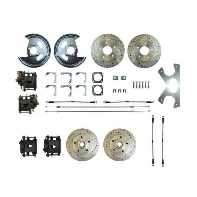 Right Stuff Rear +2 Disc Brake Conversion Kit with 4 Drilled & Slotted Rotors, 4 Black Powder Coated Calipers, Braided Hoses & with Parking Brake Cable for 69 F-Body and 69-74 Nova. F69RD05S