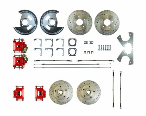 Right Stuff Rear +2 Disc Brake Conversion Kit with 4 Drilled & Slotted Rotors, 4 Red Powder Coated Calipers, Braided Hoses & with Parking Brake Cable for 70-74 Camaro. F70RD06Z