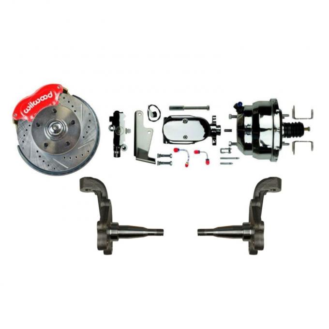 """Right Stuff Power Front Stock Height Disc Brake Conversion Kit with Red Wilwood Dual Piston Calipers, standard finish 9"""" Brake Booster & Master Cylinder, Drilled & Slotted Rotors, Stainless Hoses & more for 64-72 GM A-Body, 67-69 F-Body and 68-74 Nova AFXDC32Z"""