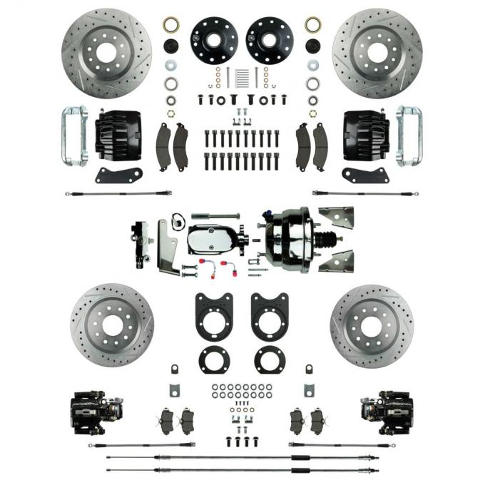 Right Stuff Power Big Brake 4 Wheel Kit with Chrome Booster, 4 Black Twin Piston Clprs & more AFXDC51CSX