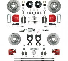 Right Stuff 4 Wheel Stock Height Big Brake Manual Disc Conversion Kit with a Chrome Master Cylinder & Valve, Spindles, Drilled & Slotted Rotors, Red Twin Piston Calipers and Stainless Hoses for 68-69 F-Body and 68-74 Nova with Staggered Rear Shocks. AFXSD55CZX