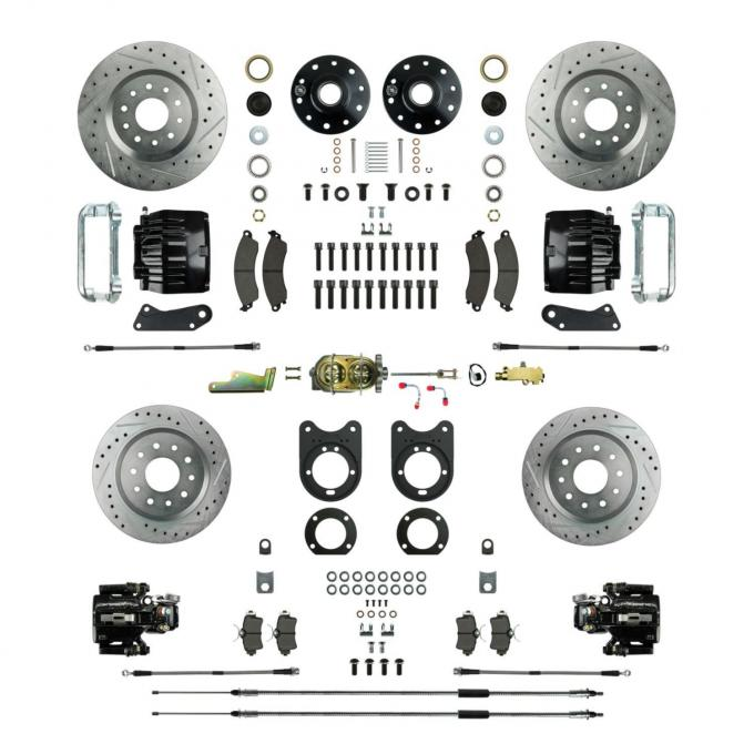 Right Stuff 4 Wheel Stock Height Big Brake Manual Disc Conversion Kit with a Master Cylinder & Valve, Spindles, Drilled & Slotted Rotors, Black Twin Piston Calipers and Stainless Hoses for 64-72 GM A-Body, 67-69 F-Body and 68-74 Nova with Non-Staggered Rear Shocks. AFXSD51CS