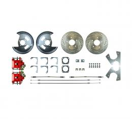 Right Stuff Rear Disc Brake Conversion Kit with Drilled & Slotted Rotors, Red Powder-Coated Calipers, Stainless Hoses, E-Brake Cables & more for 64-77 GM A-body, 67 F-Body and 68-79 Nova with Non-Staggered Shocks. AFXRD01Z