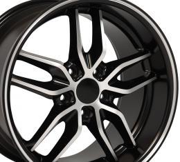 Satin Black Machined Face Deep Dish Wheel fits Camaro-Firebird (Stingray style) 18x10.5