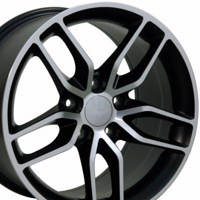 Matte Black Machined Face Wheel fits Corvette (Stingray style) 18x10.5
