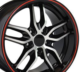 Black Machined Face Red Band Deep Dish Wheel fits Camaro-Firebird (Stingray style) 18x10.5