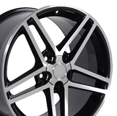 Black Machined Rims fit Corvette (C6 Z06 style) 17x9.5