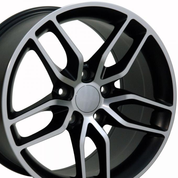 "18"" Rim fits Corvette C7 Stingray Style Satin Blk Mach'd 18x8.5 Wheel"
