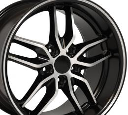 Satin Black Machined Face Deep Dish Wheel fits Camaro-Firebird (Stingray style) 17x9.5