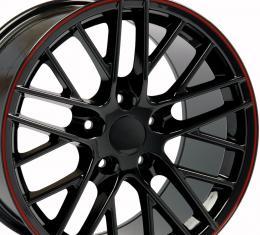 "18"" Fits Chevrolet - C6 ZR1 Wheel - Black Red Band 18x10.5"