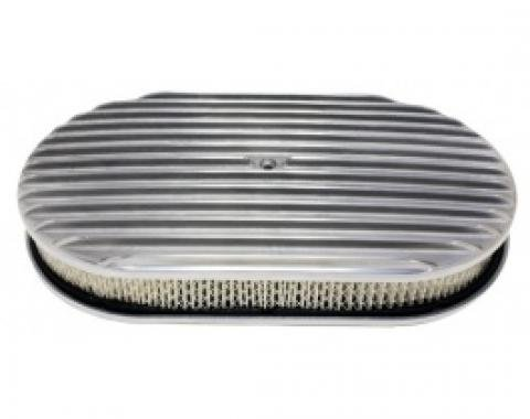 Air Cleaner, Oval Full Finned Polished Aluminum, 15