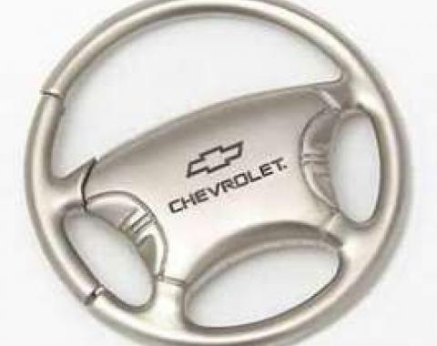 Key Ring, Steering Wheel, Satin/Chrome, With Chevrolet & Bowtie Logo