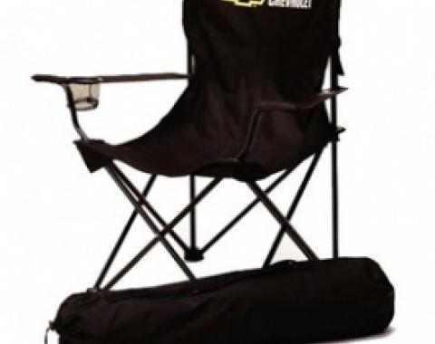 Chevrolet Bowtie Folding Arm Chair, Black & Gold