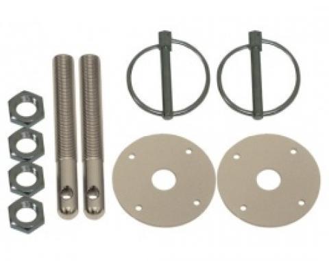 Aluminum Hood Pin Kit, Silver