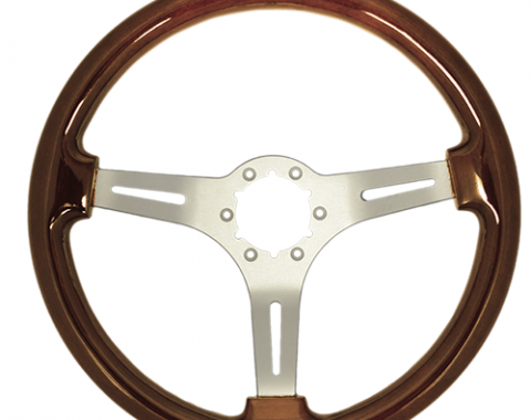 Volante S6 Sport Steering Wheel, with Brushed Spokes & Mahogany Grip