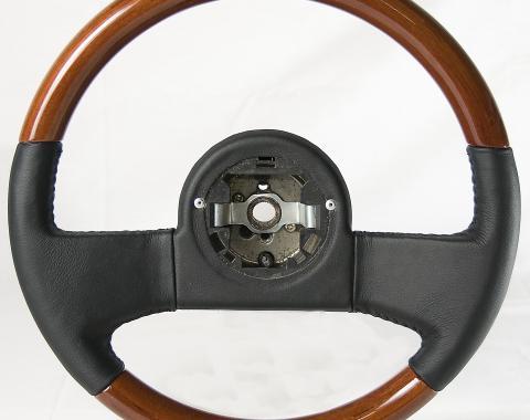 Corvette Volante OE Series Steering Wheel, Mahogany & Black Leather Grip, 1984-1989