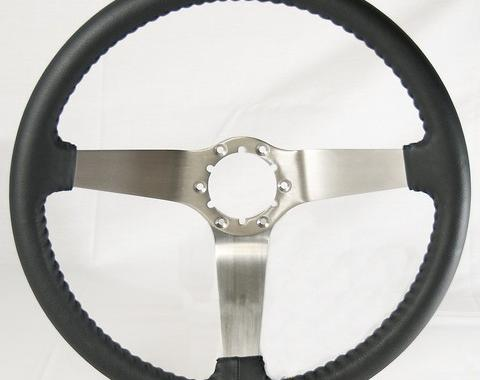Corvette Volante OE Series Steering Wheel, with Brushed Spokes & Leather Grip, 1977-1979