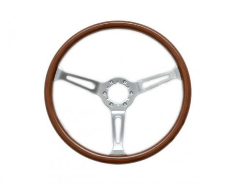 Volante S6 Classic Steering Wheel, with Slotted Chrome Spokes & Wood Grip