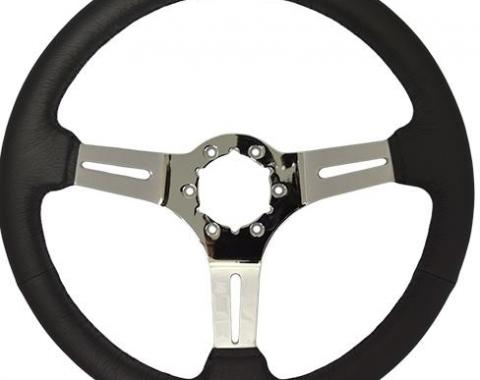 Volante S6 Sport Steering Wheel, with Chrome Spokes & Leather Grip