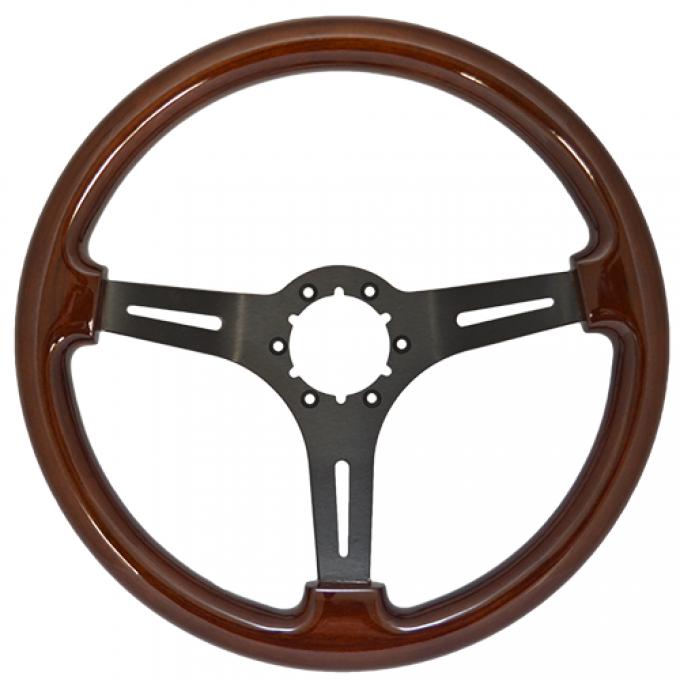 Volante S6 Sport Steering Wheel, with Black Spokes & Mahogany Grip
