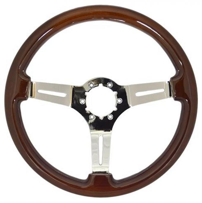 Volante S6 Sport Steering Wheel, with Chrome Spokes & Mahogany Grip