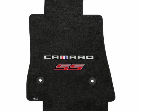 Lloyd Mats 2016-2019 Chevrolet Camaro Camaro 2016-on 2 Piece Mats Ebony Velourtex Camaro + SS Red Double Logo 620196
