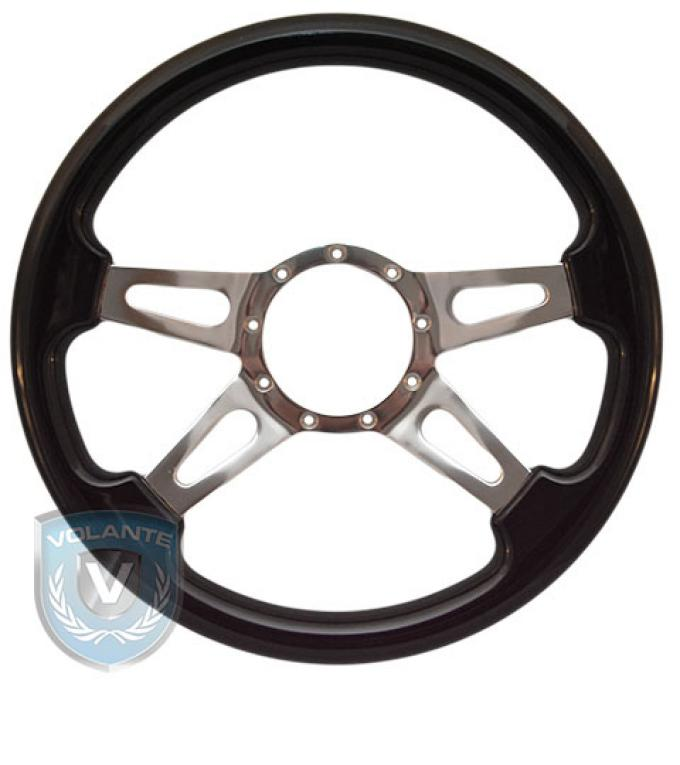 Volante S9 Premium Steering Wheel, Black Wood and Brushed Center, 4 Spoke with Slots
