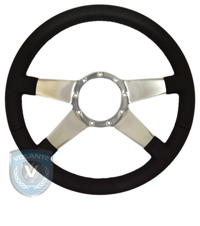 Volante S9 Premium Steering Wheel, Black Leather and Brushed Center, 4 Spoke