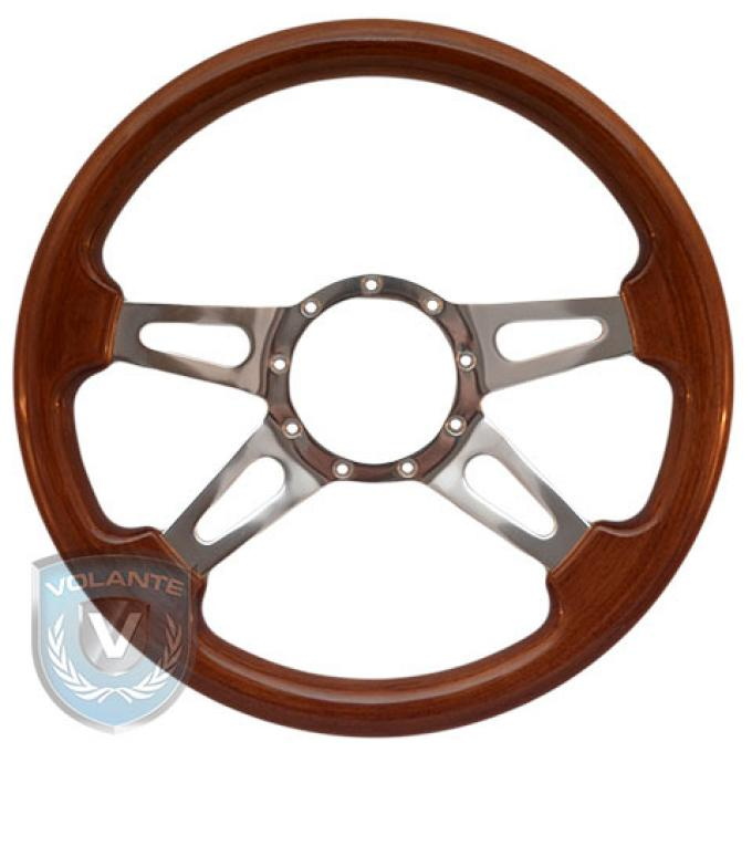 Volante S9 Premium Steering Wheel, Walnut Wood and Brushed Center, 4 Spoke with Slots