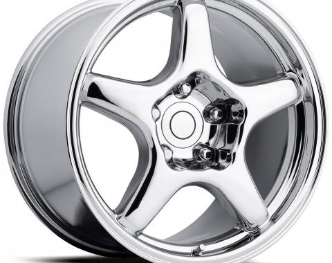 "Corvette ZR1 Style Wheel, Reproduction, 17"" x 9.5"" x 38mm, Front or Rear, Chrome, 1984-1987"