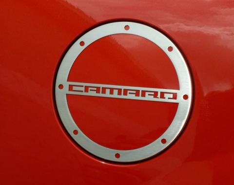 """2010-2014 Camaro Gas Cap Cover With """"CAMARO"""" Lettering, Brushed"""